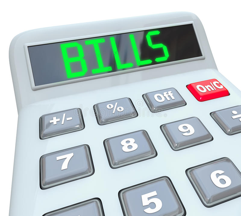 Factures - mot sur la calculatrice pour le paiement des charges illustration libre de droits