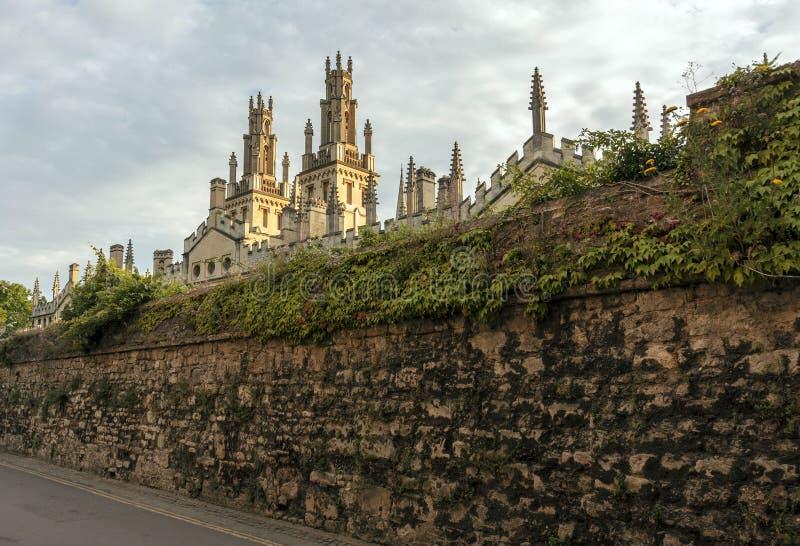 A faculdade de toda a alma escondida atrás da parede de pedra alta coberta com o iv imagem de stock royalty free