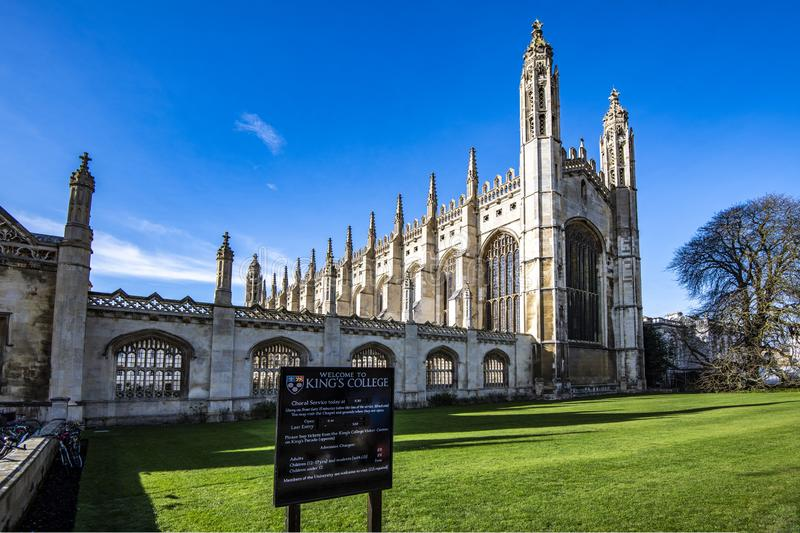 A Faculdade do rei em Cambridge, Cambridgeshire, Inglaterra fotografia de stock royalty free