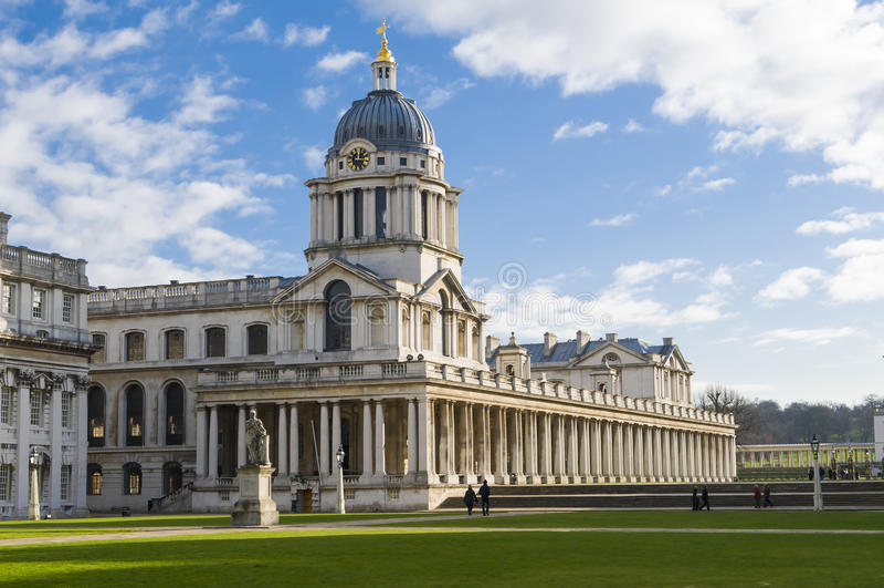 Faculdade naval real velha Greenwich fotos de stock royalty free