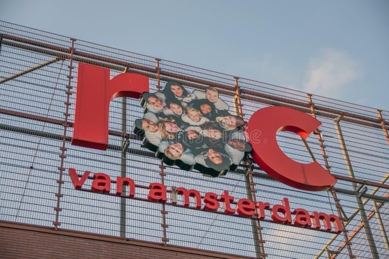 Faculdade Westpoort ROC At Amsterdam The Netherlands 2018 do MBO do quadro de avisos imagem de stock