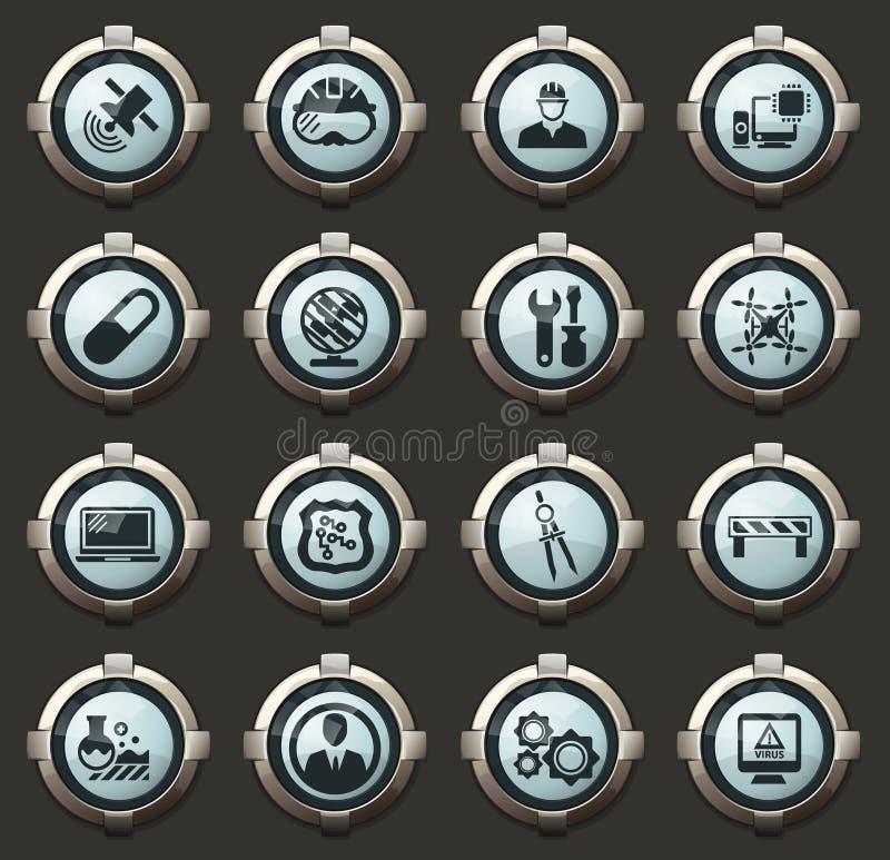 Facultad de sistema de los iconos de los mecánicos stock de ilustración