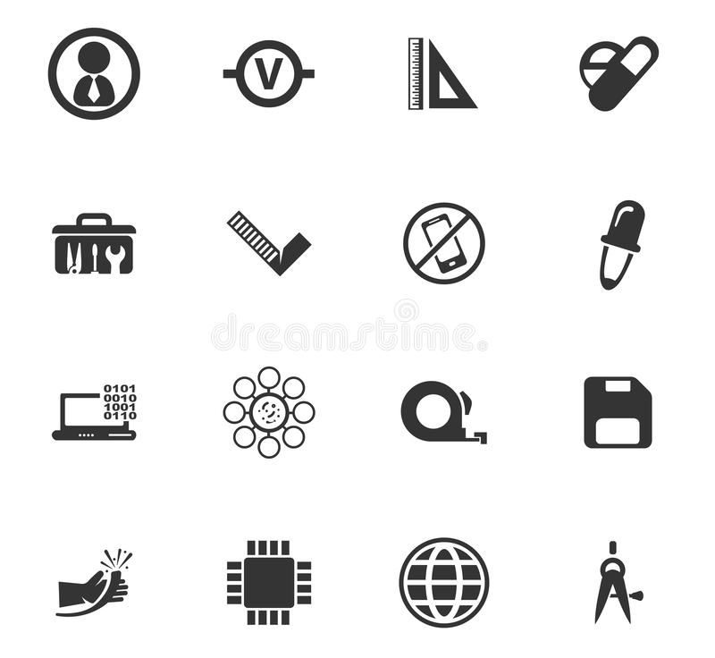 Facultad de sistema de los iconos de los mecánicos ilustración del vector
