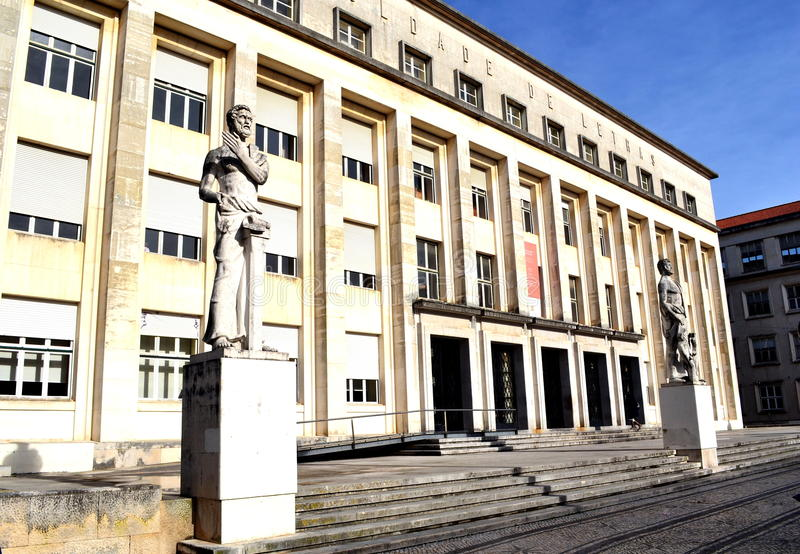 Faculty of Literacy University of Coimbra. View of the Faculdade de Letras building (Faculty of Literacy). It is the oldest university in Portugal and one of the stock photo