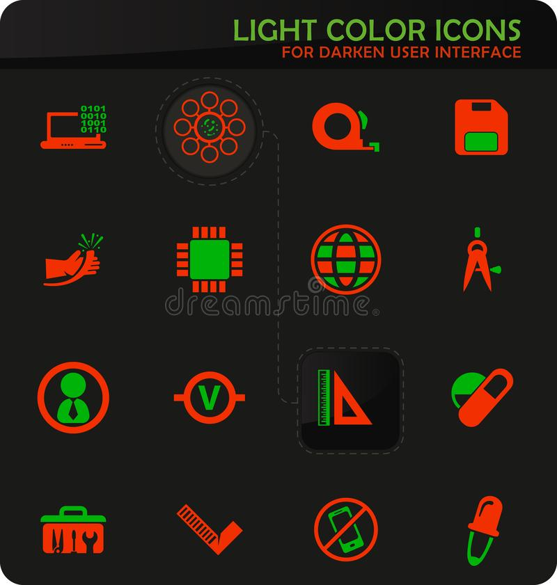 Faculty of mechanics icons set. Faculty of mechanics easy color vector icons on darken background for user interface design vector illustration