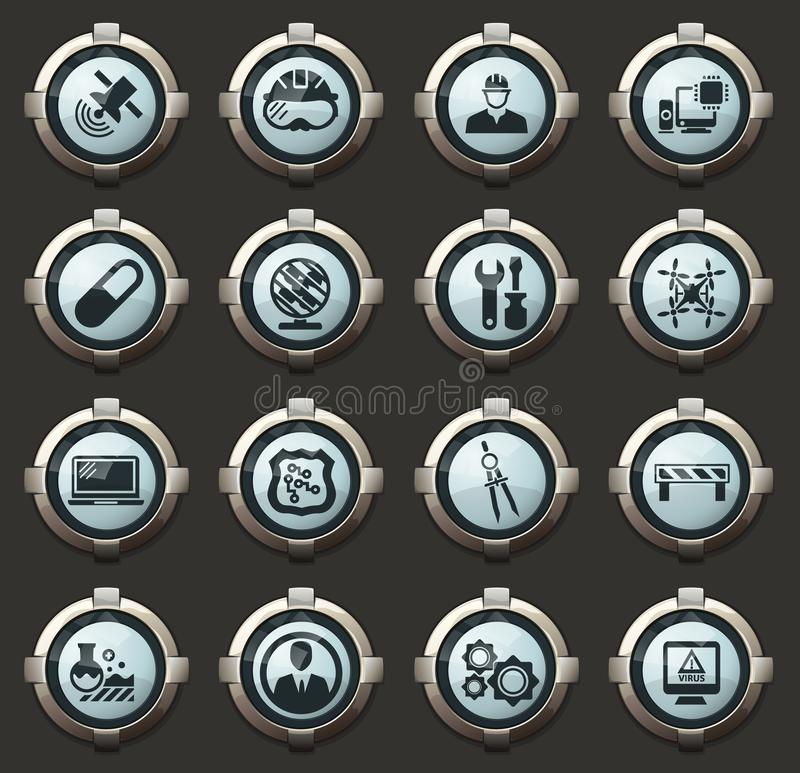 Faculty of mechanics icons set. Faculty of mechanics vector icons in the stylish round buttons for mobile applications and web stock illustration