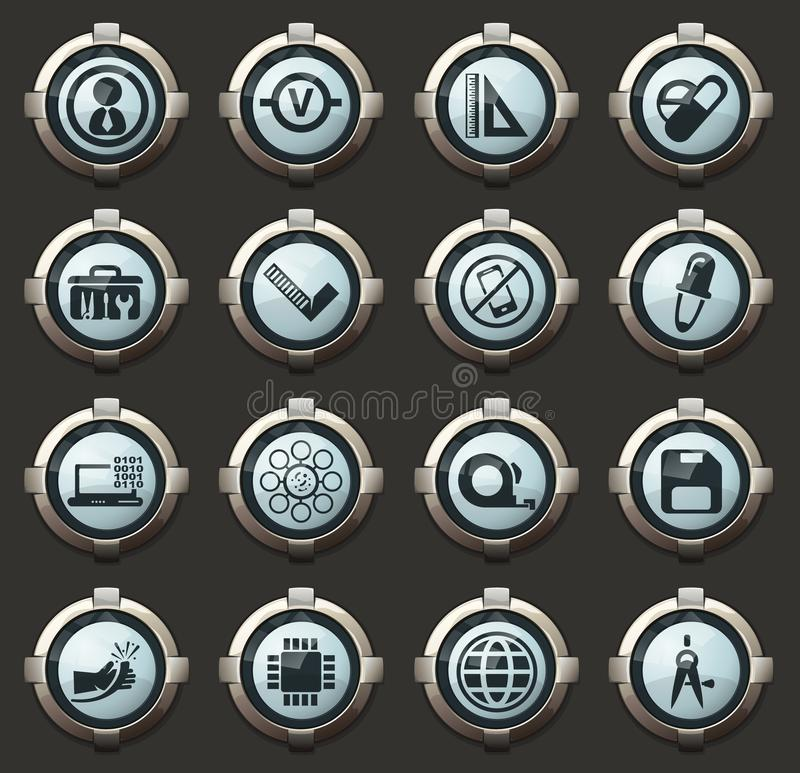 Faculty of mechanics icons set. Faculty of mechanics vector icons in the stylish round buttons for mobile applications and web royalty free illustration