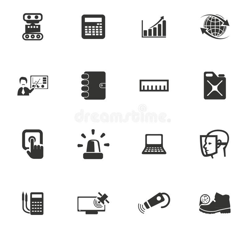 Faculty of mechanics icons set. Faculty of mechanics vector icons for user interface design stock illustration