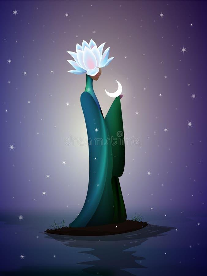 Fada bonita da noite, sping feericamente, fantástica ilustração royalty free