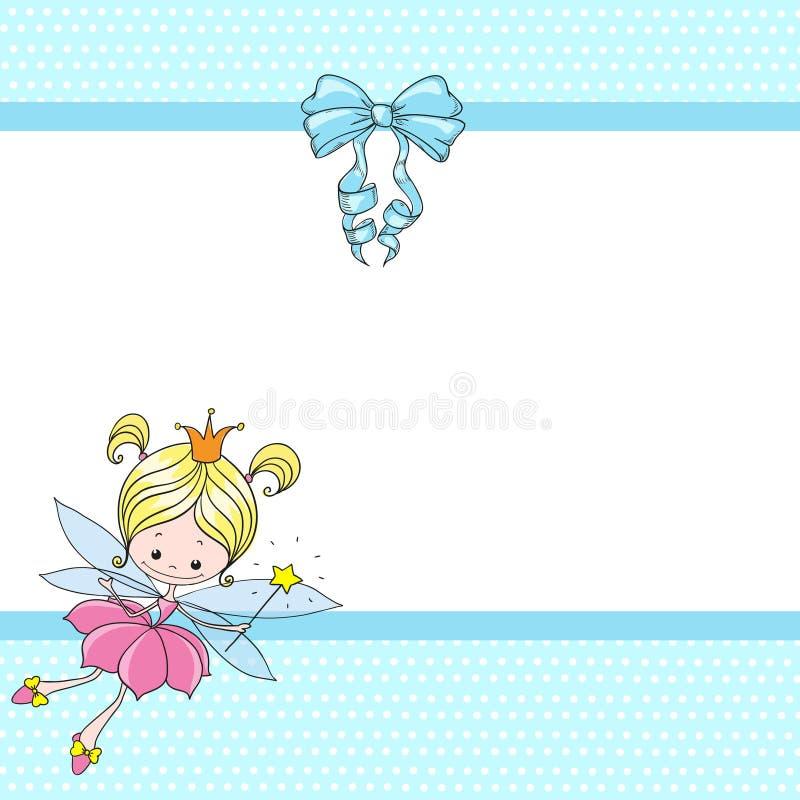 Fada bonita dos desenhos animados do caráter Menina feericamente com uma curva Cartão com lugar para felicitações ilustração royalty free