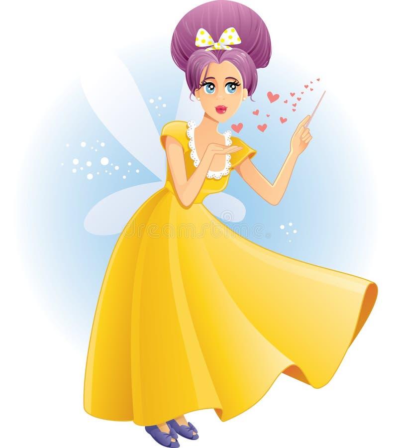Fada bonito com desenhos animados de espalhamento do vetor do amor da varinha mágica ilustração do vetor