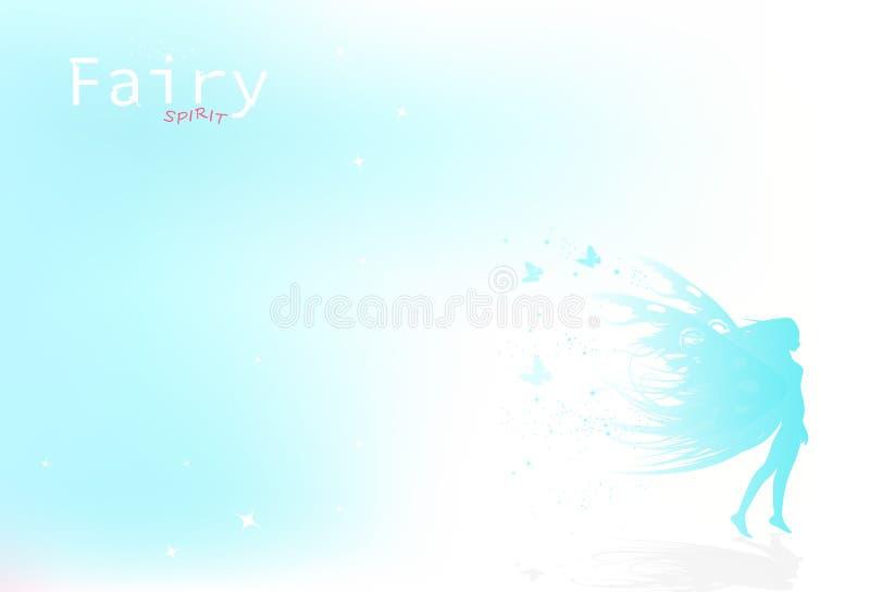 A fada, borboleta na natureza, conceito do inverno, partículas de poeira das estrelas dispersa o sprakle, coleção da postura da f ilustração stock