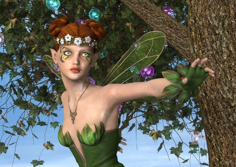 Fada da mola no jardim da fantasia ilustração do vetor