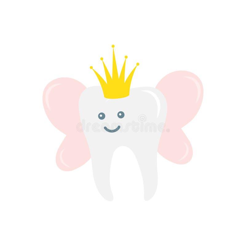 Fada de dente com a coroa e as asas douradas do brilho ilustração royalty free