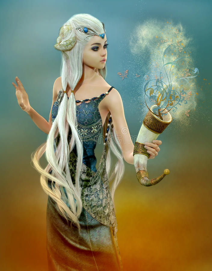 Fada dos sonhos azuis, 3d CG ilustração stock