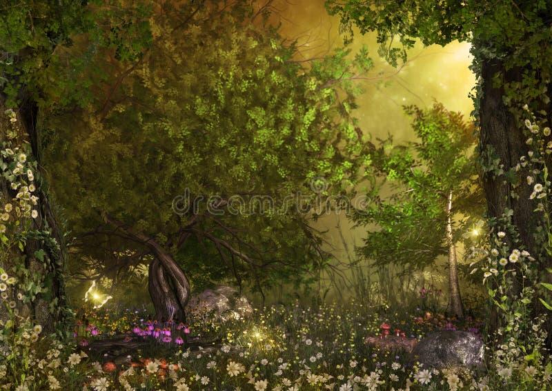 Fada encantador Forest Daisy Flowers imagem de stock royalty free