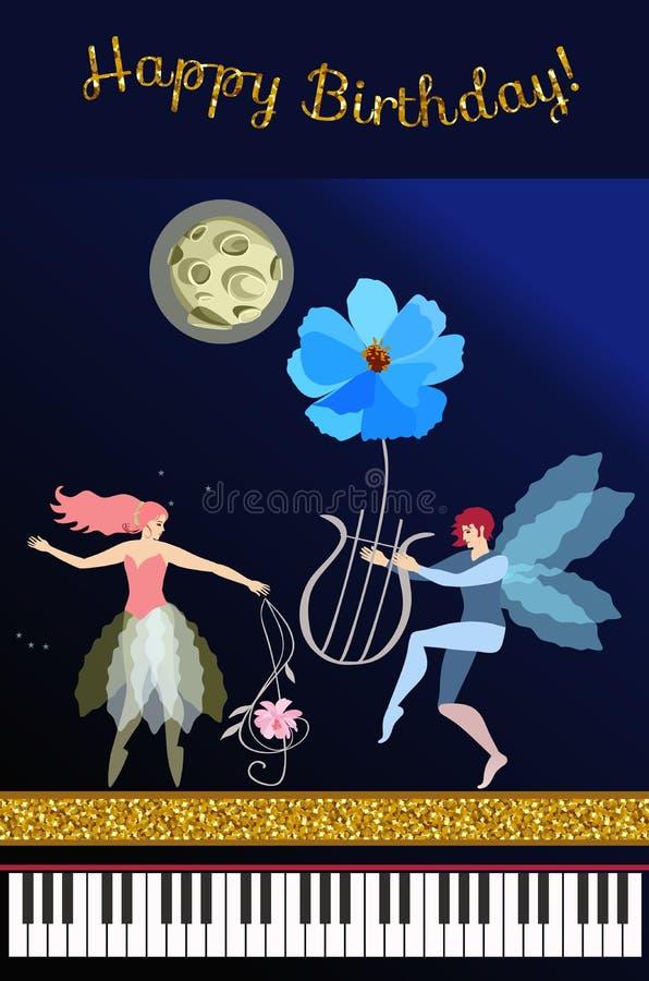 Fada musical dos desenhos animados bonitos com clave de sol na forma da flor do cosmos, duende voado com liras mágicas, lua no cé ilustração royalty free