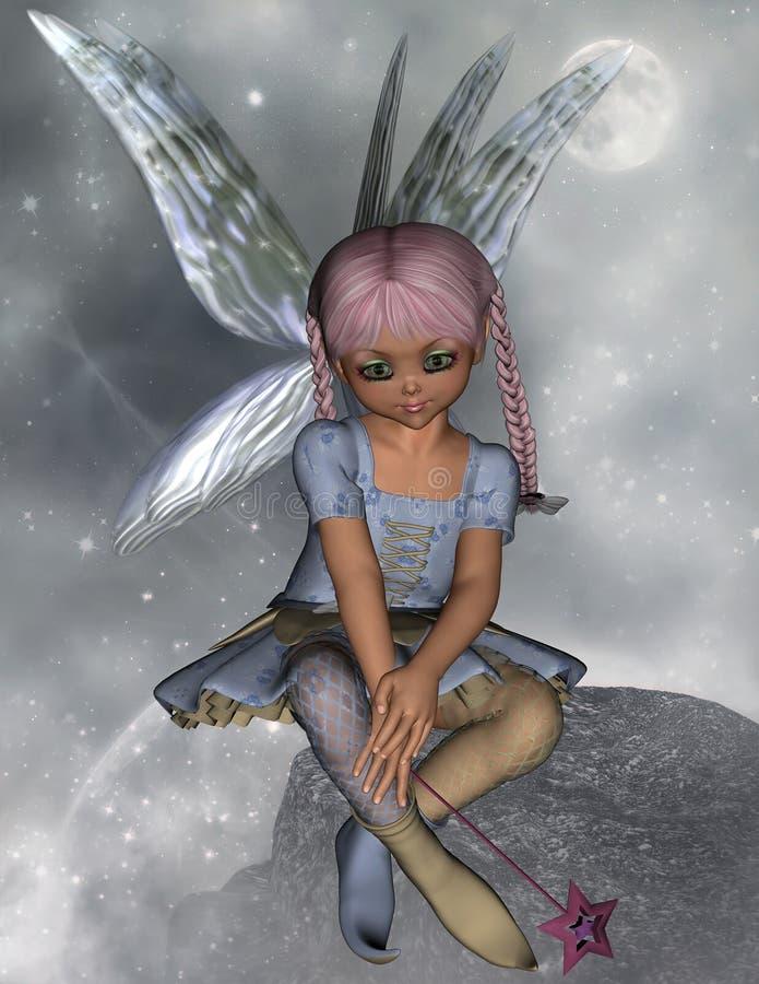 Fada que senta-se em uma rocha com varinha da estrela ilustração stock