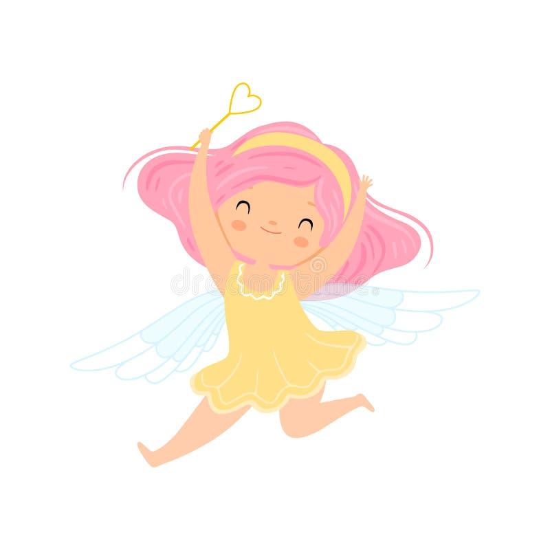 Fada voada pequena bonita com cabelo cor-de-rosa, caráter bonito da menina no traje feericamente com ilustração mágica do vetor d ilustração royalty free