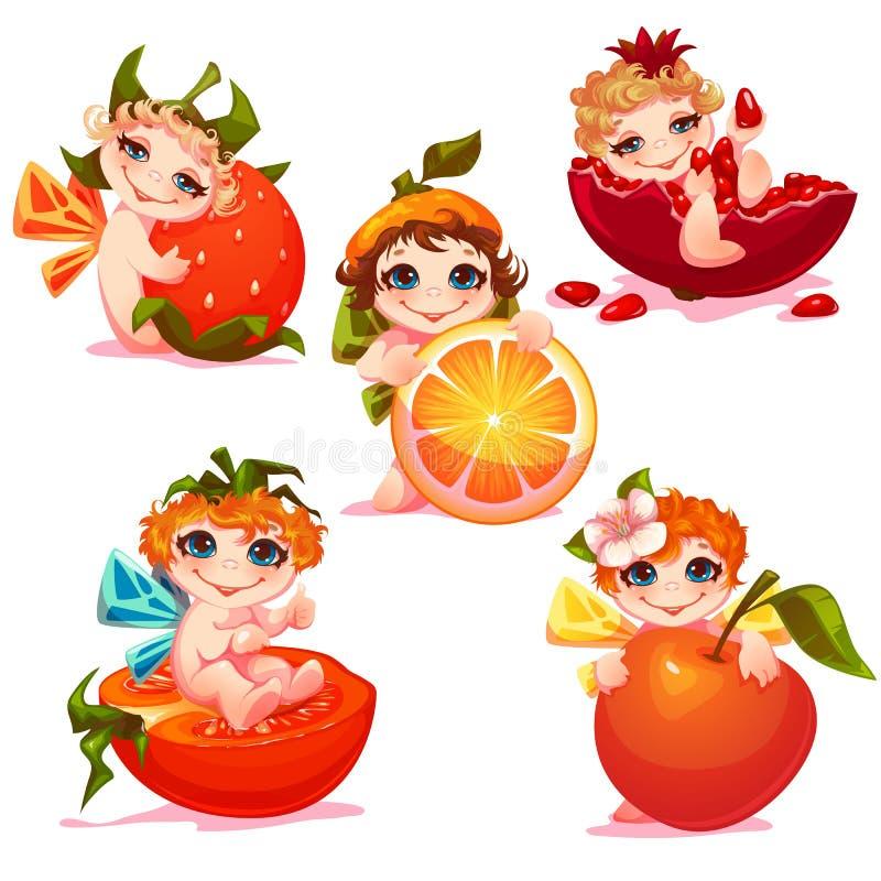 Fadas doces com maçã, laranja, tomate e ilustração royalty free