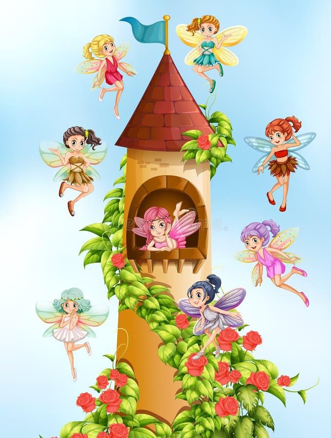 Fadas e torre ilustração stock