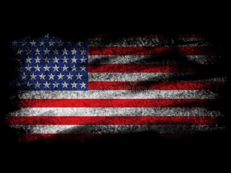 Fade American Flag på svarta Blackground vektor illustrationer