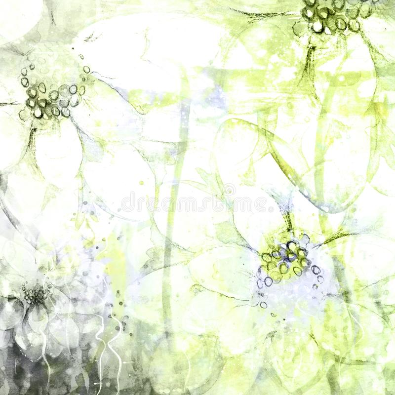Faded Abstract Floral Sketched Watercolor Grunge Background Illustrations stock illustration