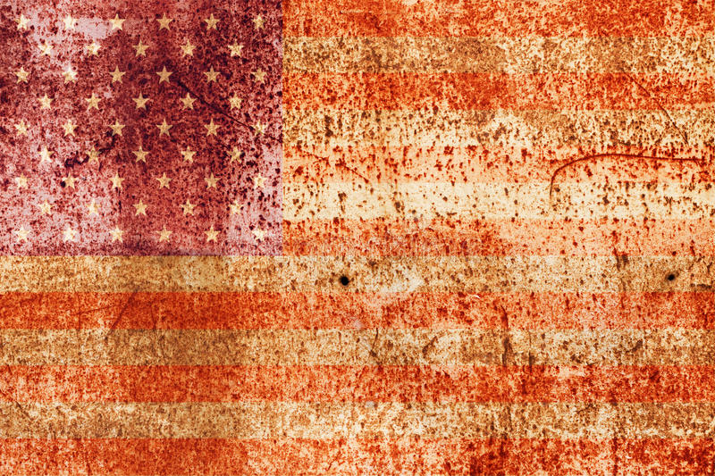 Faded american flag on metal. Faded american flag on rusted metal stock image