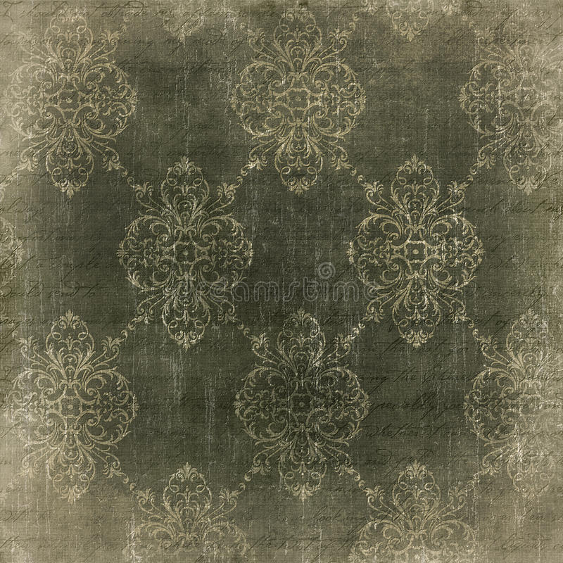 Faded damask vintage paper stock illustration