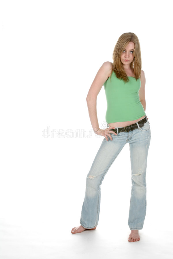 Download Faded denim woman stock image. Image of woman, long, pretty - 5804867