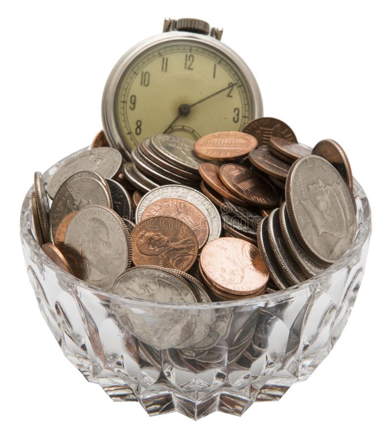 Free Faded Old Pocket Watch Coins Time Money Concept Royalty Free Stock Photography - 37888507