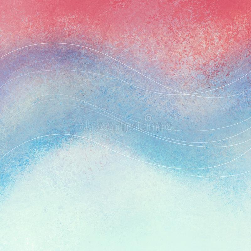 Faded red white and blue background with curved wavy lines design vector illustration