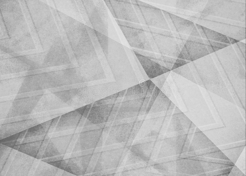 Faded white and gray background, angles lines and diagonal shape pattern design in monochrome black and white color scheme. Abstract white gray background royalty free stock photography
