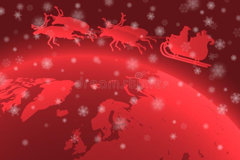 Fader Christmas som rider hans släde över planetjord med fallande snöflingor i förgrunden stock illustrationer