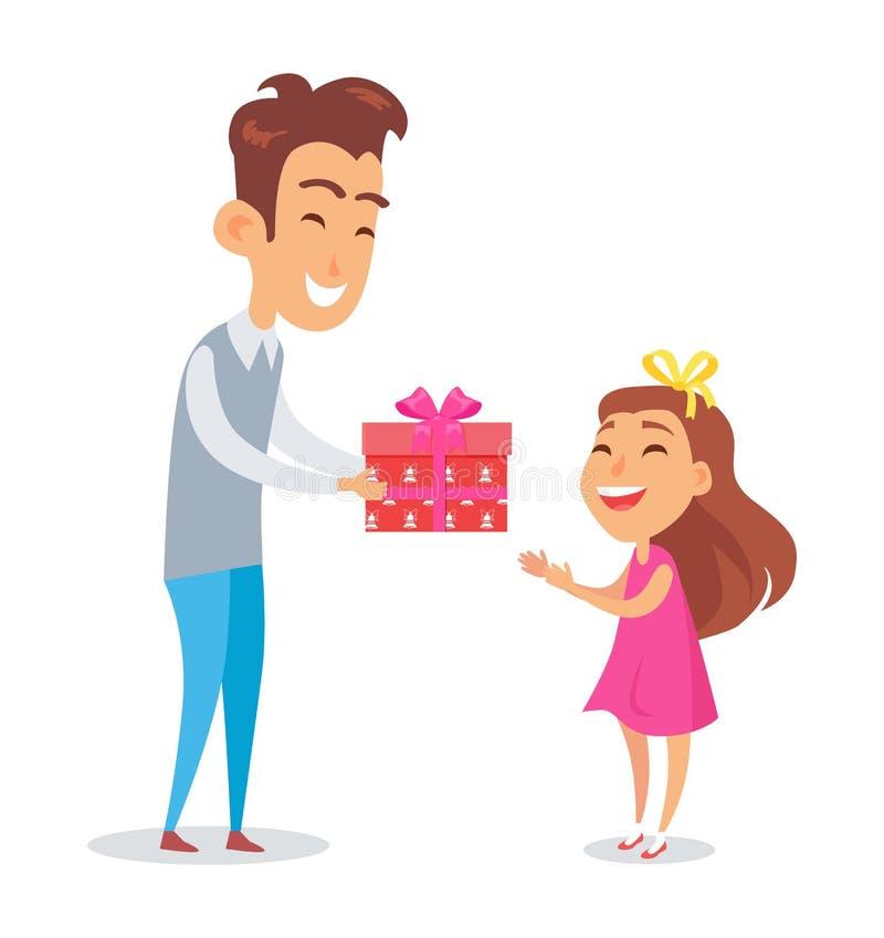 Fader Congratulates Daughter med ferievektorn royaltyfri illustrationer