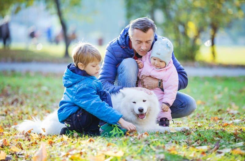 Fader med den förskole- sonen och att behandla som ett barn daugther som spelar med hans samoyedhund arkivfoton