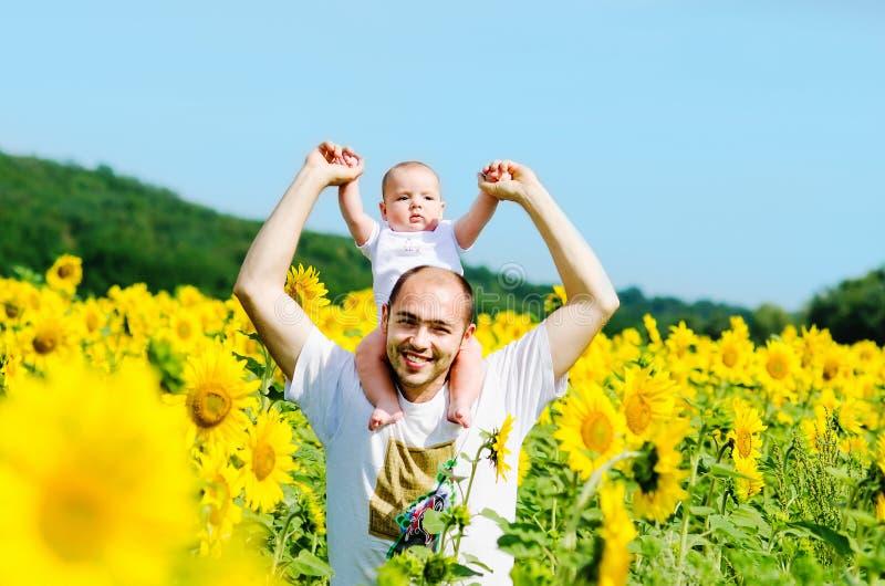 Fader med sonen på solrosfältet arkivbild