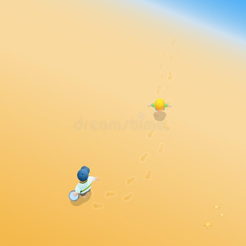 Fader och barn på den sandiga stranden vektor illustrationer