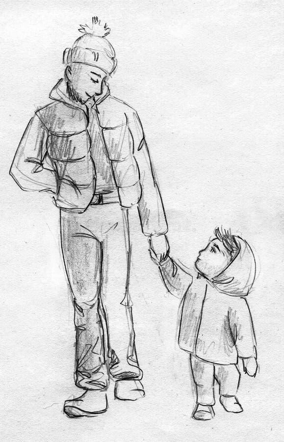 Fader och barn som går - blyertspennan skissar vektor illustrationer