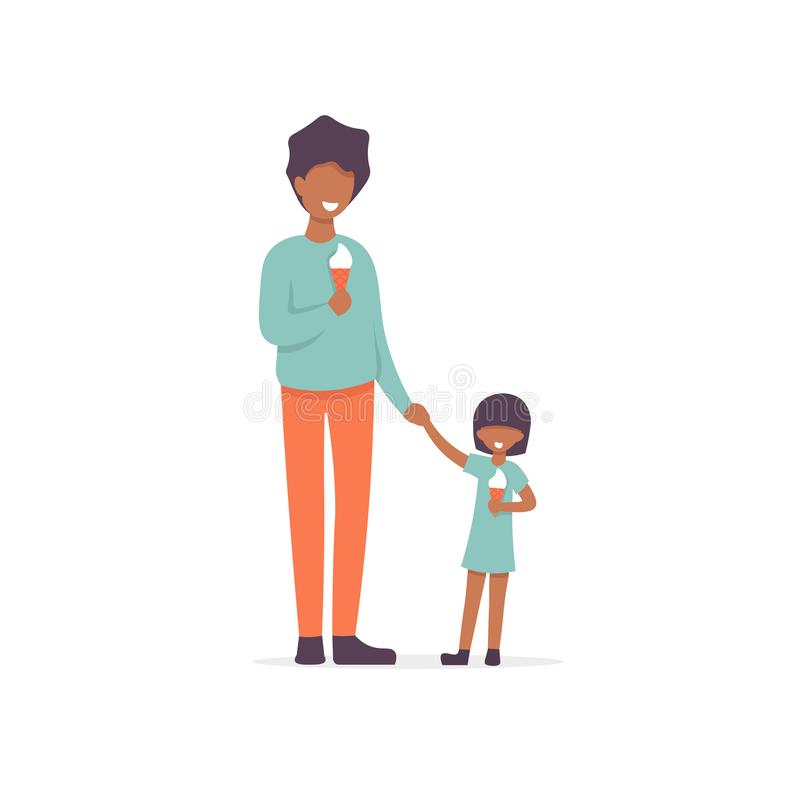 Fader och dotter att äta glass royaltyfri illustrationer