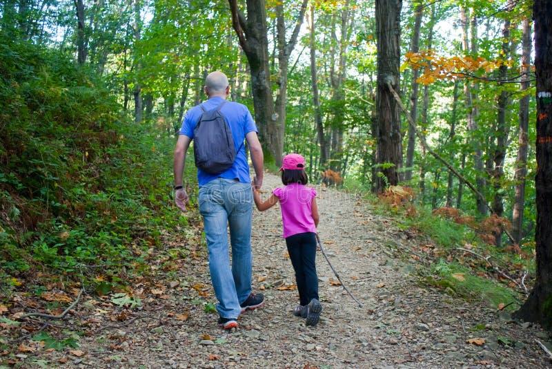 Fader och dotter som går i skogen royaltyfri bild