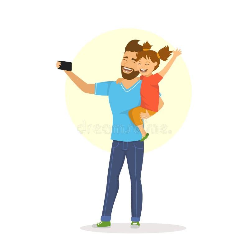 Fader och dotter som tar selfie vektor illustrationer