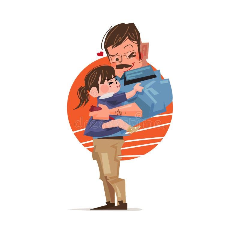 Fader och dotter som tillsammans kramar Lyckligt familjbegrepp - vec vektor illustrationer