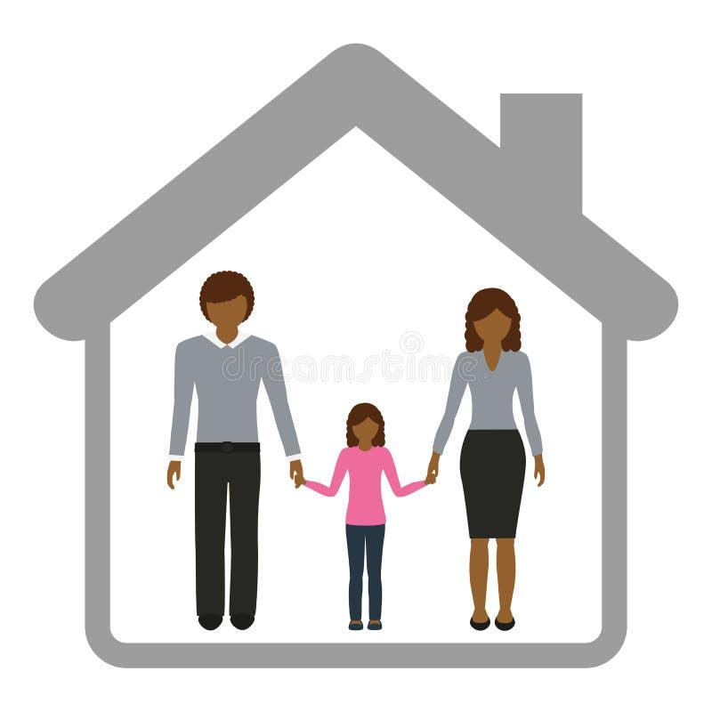 Fader och flicka för familjteckenmoder i ett hus royaltyfri illustrationer