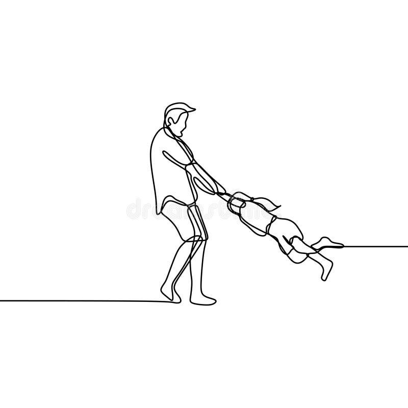 Fader och hans fortlöpande en linje minsta design för dotter för teckningsvektorillustration vektor illustrationer