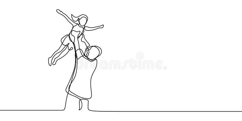 Fader och hans fortlöpande en linje stil för dotter för minimalsm för teckningsvektordesign royaltyfri illustrationer