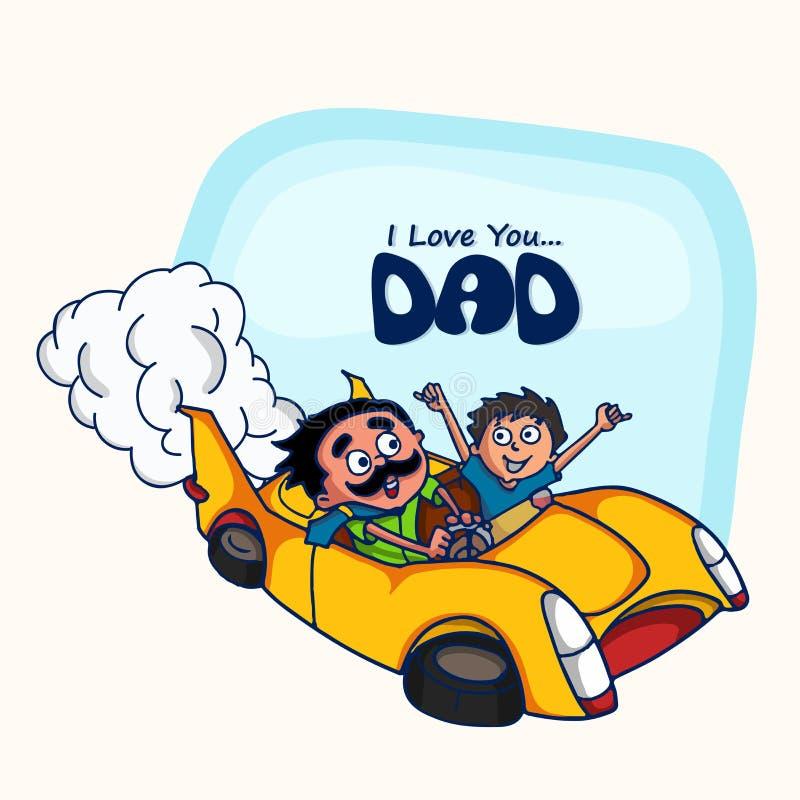 Fader och son i bilen för lyckliga faders dag stock illustrationer