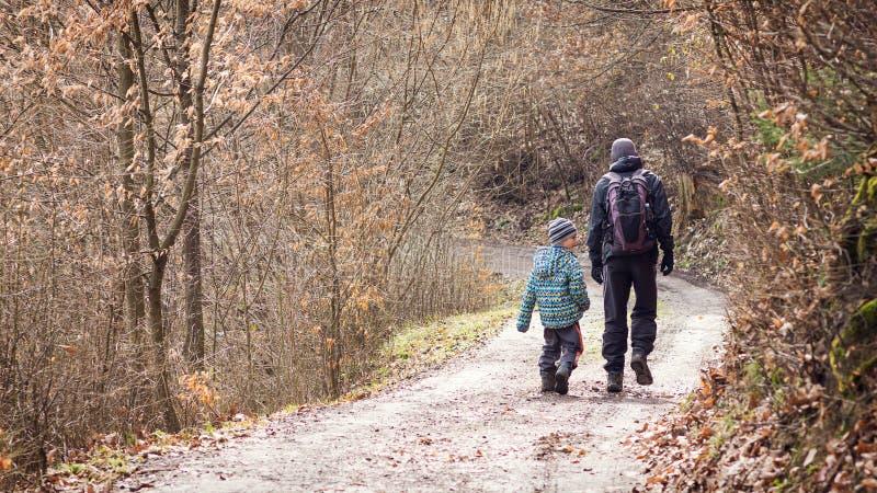 Fader och son som går på skogvägen royaltyfria foton