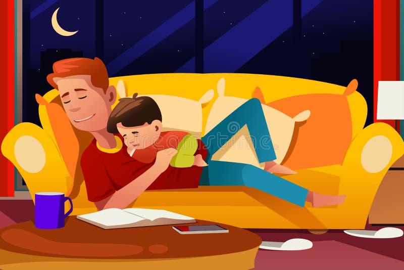 Fader och son som sover på soffan stock illustrationer