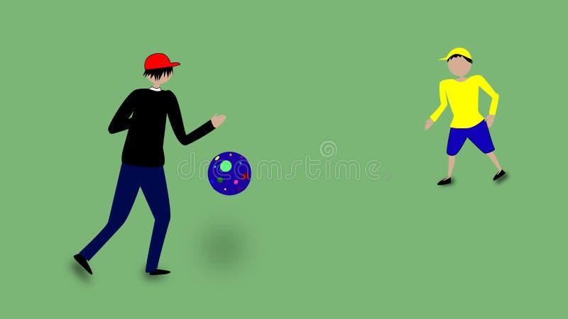 Fader och son som spelar fotbollvektorbild stock illustrationer